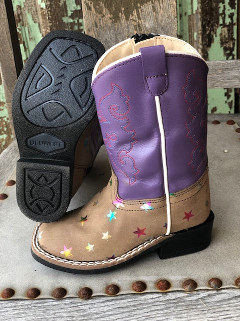 Load image into Gallery viewer, Old West Children's Sand & Purple Star Square Toe Western Boots BSI1801