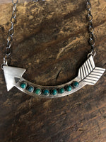 Handcrafted Sterling Silver Green Stone Arrow Necklace AZNKGRA