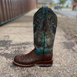 Load image into Gallery viewer, Corral Women's Turquoise Overlay Ostrich Square Toe Western Boots A4059