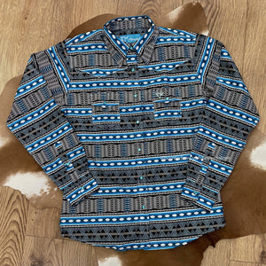 Load image into Gallery viewer, Cowboy Hardware Girl's Turquoise Aztec Print Long Sleeve Western Shirt 425451-390-K