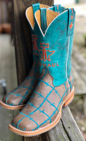 "Tin Haul Women's ""Barbed Wire"" Sand & Turquoise Square Toe Western Boots 0191 - Painted Cowgirl Western Store"