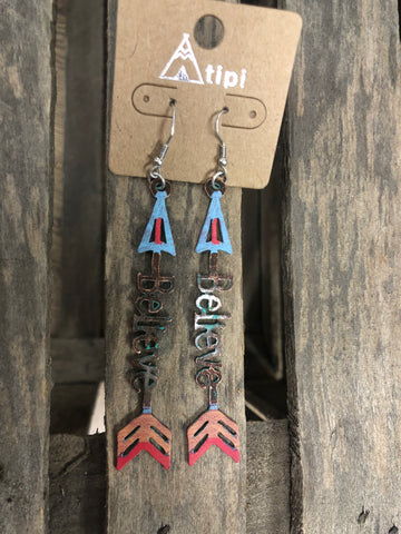 Believe Multi Color Arrow Earrings SE1240-PT