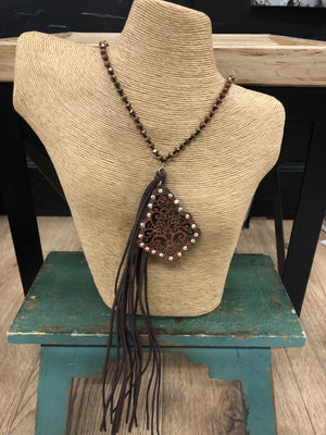 Load image into Gallery viewer, Brown Wooden Scroll Tassel Necklace WN0552WGBRN