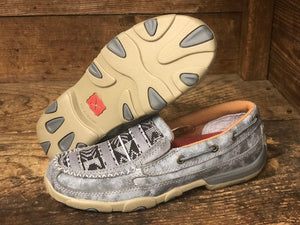 Twisted X Women's Grey Aztec Slip On Driving Mocs WDMS012 - Painted Cowgirl Western Store