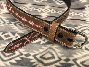 Twisted X Youth Distressed Brown and Pink Logo Stitch Leather Belt XRBK-P - Painted Cowgirl Western Store