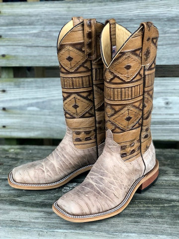 Anderson Bean Women's Beige Dirty Sasquatch & Rustic Navajo Square Toe Boot 4219M