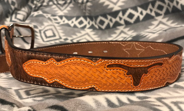 Ranger Belt Company Youth Tan Longhorn overlay & Cowhide Leather Belt KB453 - Painted Cowgirl Western Store