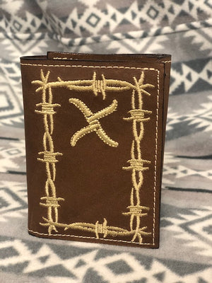 Twisted X Distressed Brown Barbed Wire Trifold Wallet XRC-14T - Painted Cowgirl Western Store