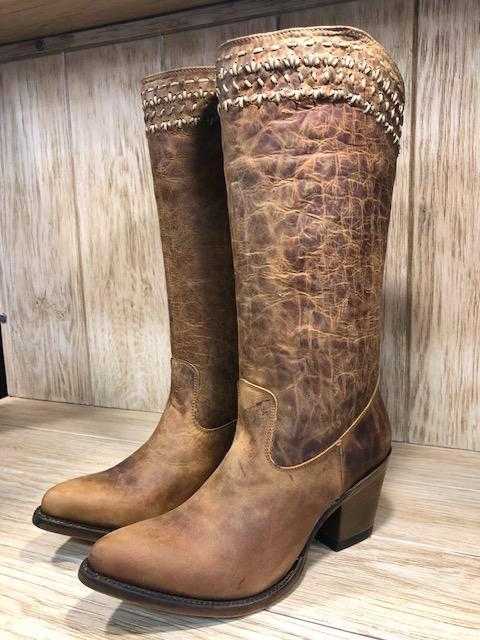 Corral Women's Brown Woven Snip Toe Western Boots Q5046 - Painted Cowgirl Western Store