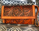 Tan Tooled Leather Clutch w/ Cellphone Holder CP107