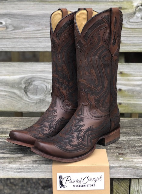 Corral Men's Rich Brown Python Inlay Narrow Square Toe C3662
