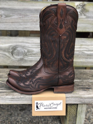 Corral Men's Rich Brown Python Inlay Narrow Square Toe C3662 - Painted Cowgirl Western Store
