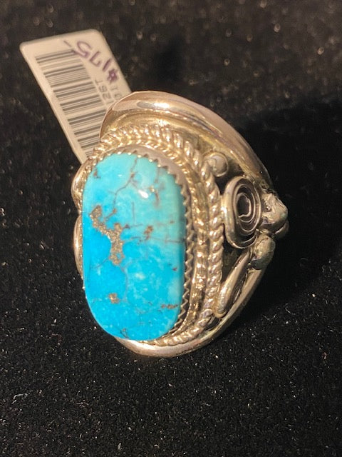 Thunderbird Jewelry Sterling Silver Large Turquoise Ring Rope Band MR1126T - Painted Cowgirl Western Store