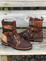 Corral Women's Distressed Dark Brown Strapped Soft Leather Ankle Boots F1184