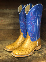 HorsePower Men's Antique Saddle Ostrich & Royal Blue  Square Toe Western Boot HP8005