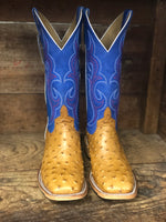 HorsePower Men's Antique Saddle Ostrich & Royal Blue Square Toe Boots HP8005 - Painted Cowgirl Western Store
