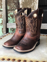 Old West Youth Chocolate Brown Square Toe Western Boots BSI1807