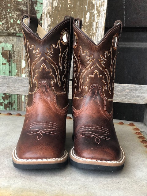 Old West Youth Chocolate Brown Square Toe Western Boots BSI1807 - Painted Cowgirl Western Store