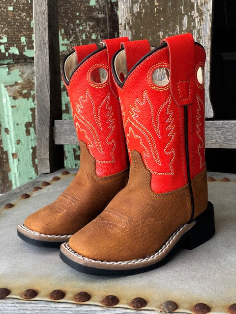 Old West Youth Tan & Red Orange Square Toe Western Boots BSI1811