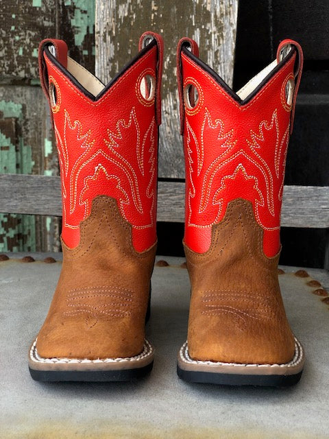 Old West Youth Tan & Red Orange Square Toe Western Boots BSI1811 - Painted Cowgirl Western Store