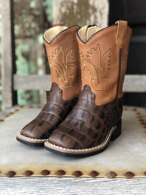 Old West Youth Brown Caiman Print Square Toe Western Boots BSI1830