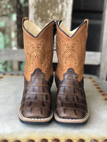 Old West Youth Brown Caiman Print Square Toe Western Boots BSI1830 - Painted Cowgirl Western Store