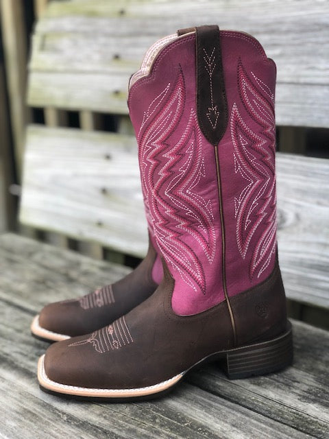 Ariat Women's Pinnacle Distressed Brown & Fuchsia Square Toe Boots 10029714