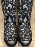 Corral Women's Black Full Silver Glitter Inlay & Studs Tall Snip Toe Boot A3590