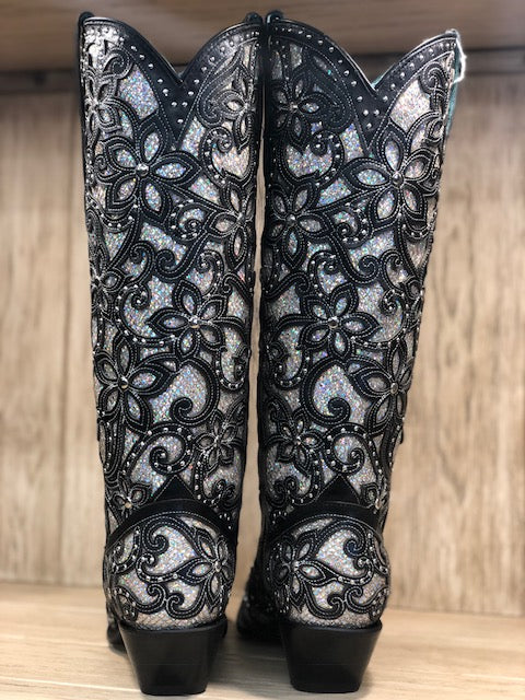 Corral Women's Black Full Silver Glitter Inlay & Studs Tall Snip Toe Boot A3590 - Painted Cowgirl Western Store