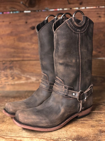 Liberty Black Women's Vintage Cafe Square Toe Harness Boot LB-71254