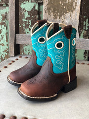 Ariat Lil Stompers Crossfire Brown & Turquoise Square Toe Boots A441000102