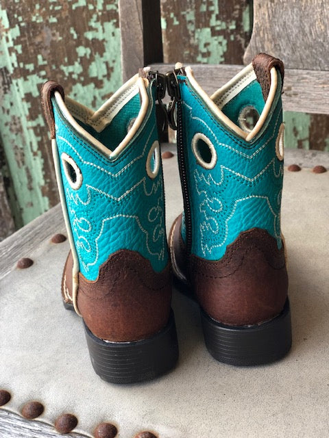 Ariat Lil Stompers Crossfire Brown & Turquoise Square Toe Boots A441000102 - Painted Cowgirl Western Store