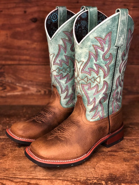 Laredo Women S Brown Amp Turquoise Square Toe Western Boots