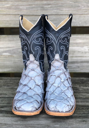 Anderson Bean Women's Blue Jean Matte Big Bass & Midnight Pearl Square Toe Boots 323447 - Painted Cowgirl Western Store