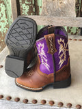 Ariat Lil Stompers Tombstone Purple & Brown Square Toe Boots A441000702