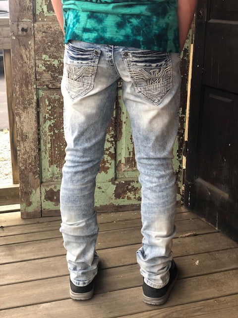 American Fighter Defender Void Hayes Light Wash Slim Straight Leg Jeans 331SK282 - Painted Cowgirl Western Store