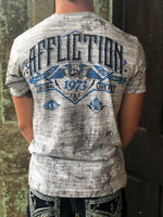 Affliction Men's Garage Horsepower White & Grey Melange Reversible Tee A22218 - Painted Cowgirl Western Store