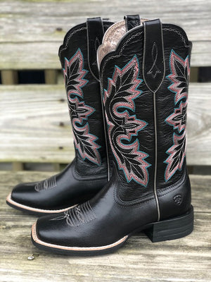 Ariat Women's Breakout Jackal Black Square Toe Western Boots 10029647 - Painted Cowgirl Western Store