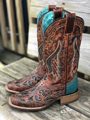 Corral Women's Honey & Teal Overlay Square Toe Western Boots A3813