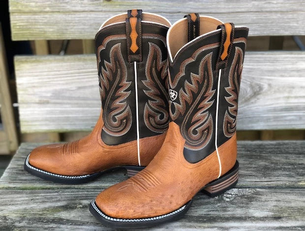 Ariat Men's Promoter Caramello & Black Smooth Ostrich Square Toe Boots 10029774 - Painted Cowgirl Western Store