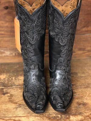 Corral Women's Black Full Inlay Snip Toe Western Boots G1417
