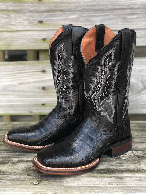 Dan Post Women's Veronica Black Caiman Square Toe Western Boots DP4863 - Painted Cowgirl Western Store