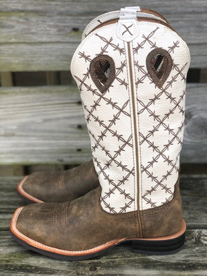 Twisted X Men's Ruff Stock Bomber & White Barbed Wire Square Toe Boots MRS0056