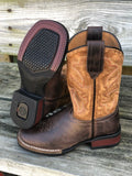 Roper Youth Monterey Distressed Tan & Brown Square Toe Western Boots 2408