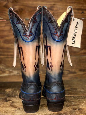 Liberty Black Women's Sand & Navy Navajo Embroidered Snip Toe Boots LC-TEL005P4C - Painted Cowgirl Western Store