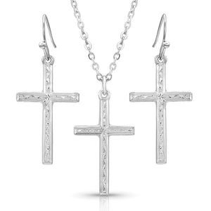 Montana Silversmiths Gratitude Cross Jewelry Set JS4342 - Painted Cowgirl Western Store