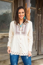 Women's Cream Button Up With Brown Embroidery Shirt MH1793