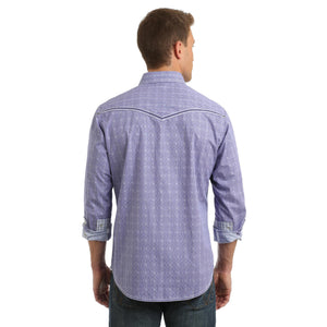 Load image into Gallery viewer, Wrangler Rock 47 Men's Purple & White Printed Snap Up Western Shirt MRC375M