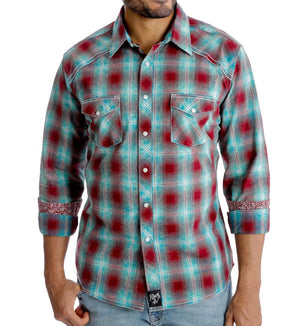 Load image into Gallery viewer, Wrangler Rock 47 Men's Turquoise & Maroon Plaid Snap Up Western Shirt MRC380M