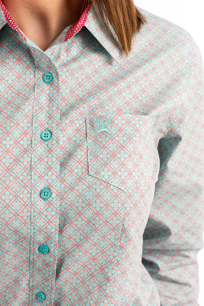 Load image into Gallery viewer, Cinch Women's Aqua & Coral Printed Button Up Western Shirt MSW9164103